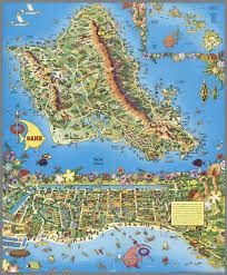 World Map 1950 A Pic Tour Map Honolulu Waikiki And U0027round The Isle Of Oahu