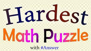 hardest math puzzle with answer youtube