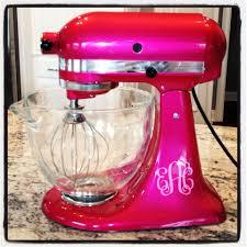 customized kitchen aid mixer in raspberry ice with monogram