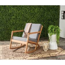 Rocker Cushions Safavieh Vernon Teak Brown Outdoor Patio Rocking Chair With Navy