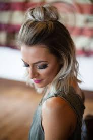 medium ash blonde ombre hair with top knot hair styles 2017