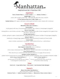 martini bar menu lunch menu u2013 the manhattan okc
