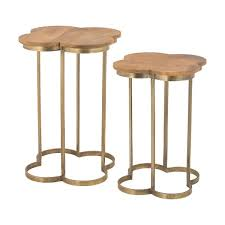 Iron Table Ls Dimond Home Gold Leaf Quatrefoil Accent Table In Gold And Wood