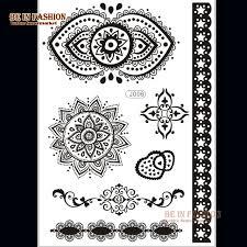 1sheet arabic indian henna tattoo stickers black tatoo temporary