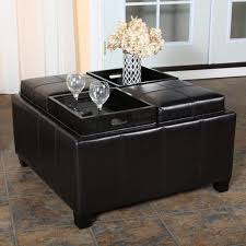 Large Ottoman Coffee Table Table Black Square Contemporary Leather Coffee Table With Storage