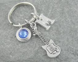 Personalized Birthstone Keychains Long Silver Guitar Keychain Personalized Guitar Keyring