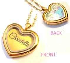 Personalized Photo Locket Necklace Personalized Name Photo Floating Locket Heart Necklace Charis