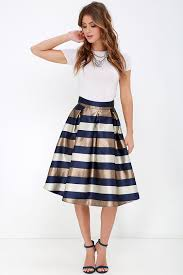 midi skirt striped skirt midi skirt navy blue and bronze skirt 42 00