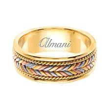7mm ring 14k gold 7mm handmade tri color wedding ring 113 almani