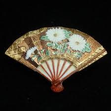 japanese fan japanese fan pin ornate floral design vintage porcelain toshikane
