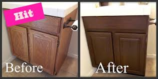 How To Refinish My Kitchen Cabinets by Refinishing The Wood On My Bathroom Cabinet Was A