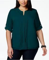plus size blouse lyst calvin klein plus size split neck pleat front chiffon