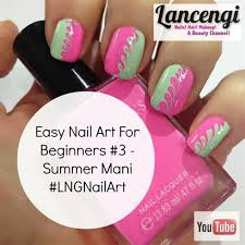 easy spring pink and green wave manicure nail art gallery
