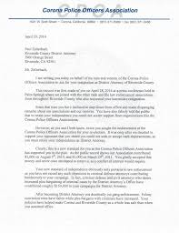 Letter To The District Attorney by Corona Poa Letter To D A Zellerbach Corona Police Officers