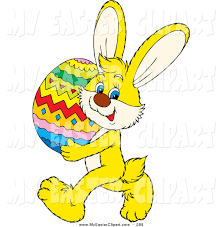 clip art of a cute yellow bunny rabbit carrying a large colorful