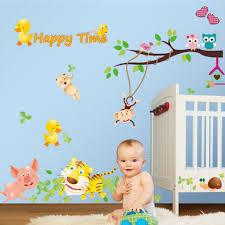 online get cheap wall paper murals monkey aliexpress com lovely owls monkey tiger animals wall decal home sticker paper art picture diy murals kid nursery
