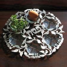 modern seder plate laser cut seder plate in silver by melanie dankowicz