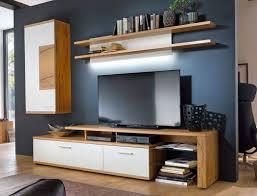 Wohnzimmerschrank Hoch Wohnwand Nina 22 Weiß Eiche 3 Teilig Medienwand Tv Wand Tv