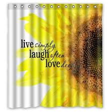 Shower Curtains With Quotes Online Shop Watercolor Sunflower Art With Live Laugh Love Quotes