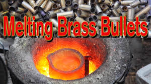 melting brass in charcoal foundry forge 5lb ingot from bullet