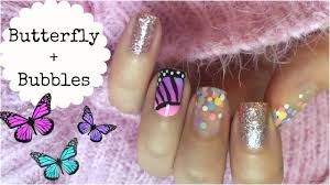 butterfly and bubbles mix n match nail art with