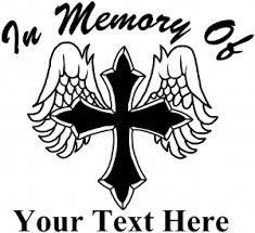 in memory of cross with wings decal car or truck window decal
