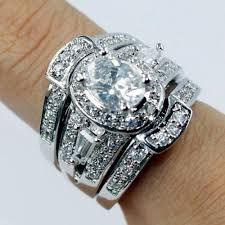 wedding ring sets 3 in 1 engagement wedding ring set aaa cubic zirconia diamonique