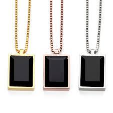 black necklace pendants images Hip hop rose gold black stone necklaces pendants men women charm jpg