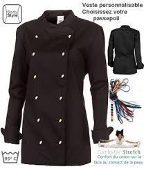 veste de cuisine noir veste de cuisine femme peut bouillir col officier