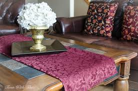 table runner for coffee table coffee table runner easy sewing tutorial time with thea