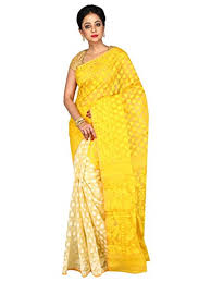 dhakai jamdani a r shop dhakai jamdani saree yellow white at glowroad k2ojye