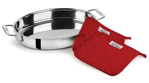 all clad stainless steel oval baker with pot holders 15 inch