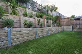backyards trendy concrete block retaining wall hillside