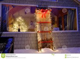holiday christmas lights on an old toboggan stock photo image