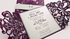 Weddings Invitation Cards Purple Laser Cut Wedding Invitation Broadway Purple Design