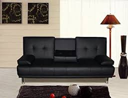 Leather Sofa Beds Uk Sale Manhattan 3 Seater Sofa Bed With Cup Holders Black By Sleep Design
