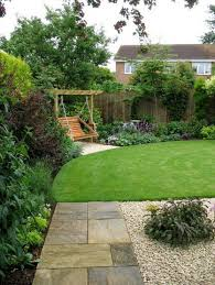 Small Space Backyard Landscaping Ideas by Minimalist Home Landscape In Small Space With Pavers And Lawn