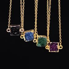 gold pendant necklace jewelry images Gold color square natural quartz druzy stone pendant necklaces jpg