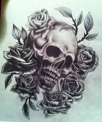 roses and skull tattoo sketch in 2017 real photo pictures