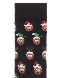 mens christmas socks mens black 1 pack christmas pudding novelty socks tu clothing