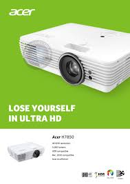 acer home theater projector acer h7850 dlp 4k uhd home cinema projector