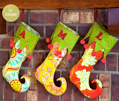 sewing patterns christmas elf holiday elf stockings with curlicue toes sew4home