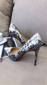 super perfect christian louboutin white snakeskin leather heel