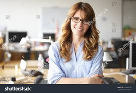 casual with smiling professional businesswoman casual arms stock photo