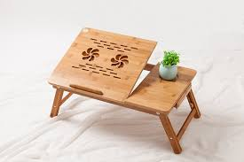 Folding Bed Tray Folding Laptop Desk Tablet Table Bed Tray Bamboo With Cooling Yi
