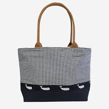 whale ribbon yri blue navy gingham with whale ribbon tote murray s toggery shop