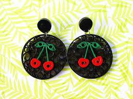 rockabilly earrings cherry drop earrings cherry drop studs rockabilly earrings