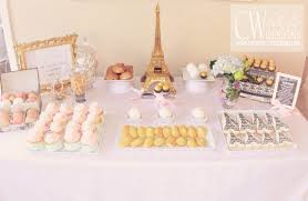 Baby Shower Sweets And Treats Paris Dessert Table Cw Distinctive Designs Pink And Gold Baby Shower