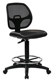 Adjustable Drafting Chair Amazon Com Office Star Deluxe Vinyl Seat And Mesh Back Drafting