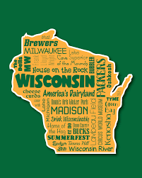 wisconsin badger state word art typography wall art home
